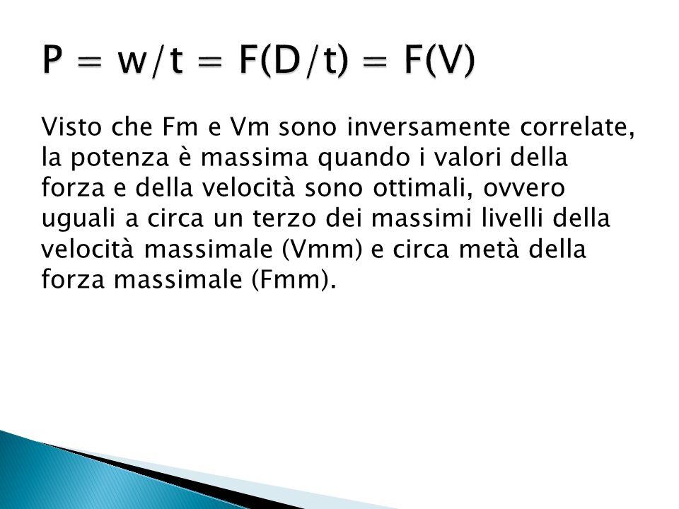 Visto che Fm e Vm sono inversamente correlate, la potenza è massima quando i valori della forza e della velocità sono ottimali, ovvero uguali a circa un terzo dei massimi livelli della velocità massimale (Vmm) e circa metà della forza massimale (Fmm).