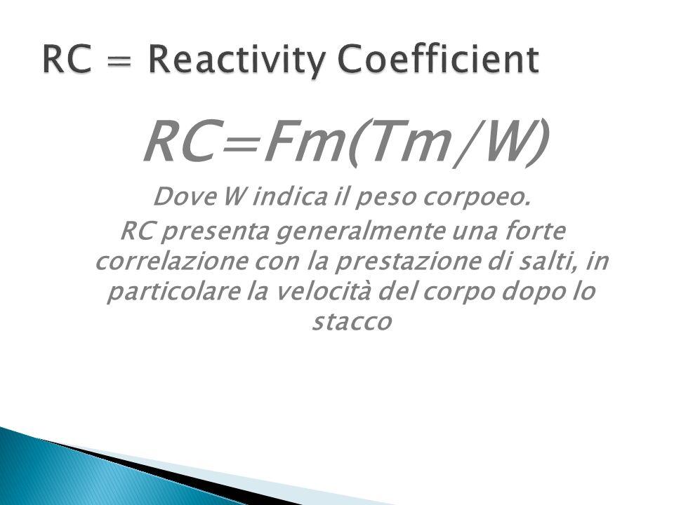RC=Fm(Tm/W) Dove W indica il peso corpoeo.