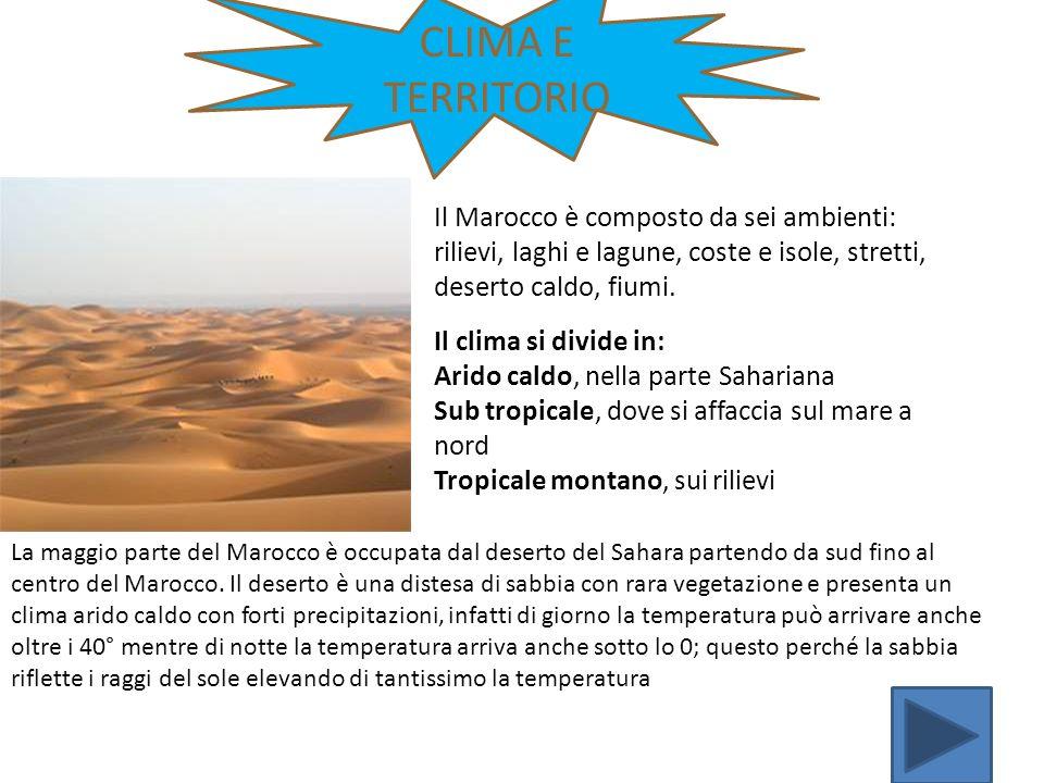 CLIMA E TERRITORIO Il clima si divide in: Arido caldo, nella parte Sahariana Sub tropicale, dove si affaccia sul mare a nord Tropicale montano, sui ri