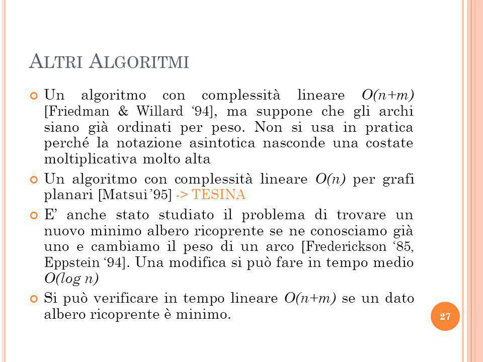 A LTRI A LGORITMI Un algoritmo con complessità lineare O(n+m) [Friedman & Willard 94], ma suppone che gli archi siano già ordinati per peso.