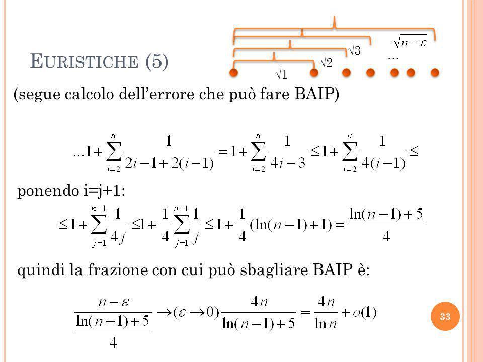 E URISTICHE (5) 33 (segue calcolo dellerrore che può fare BAIP) 1 2 3 … ponendo i=j+1: quindi la frazione con cui può sbagliare BAIP è:
