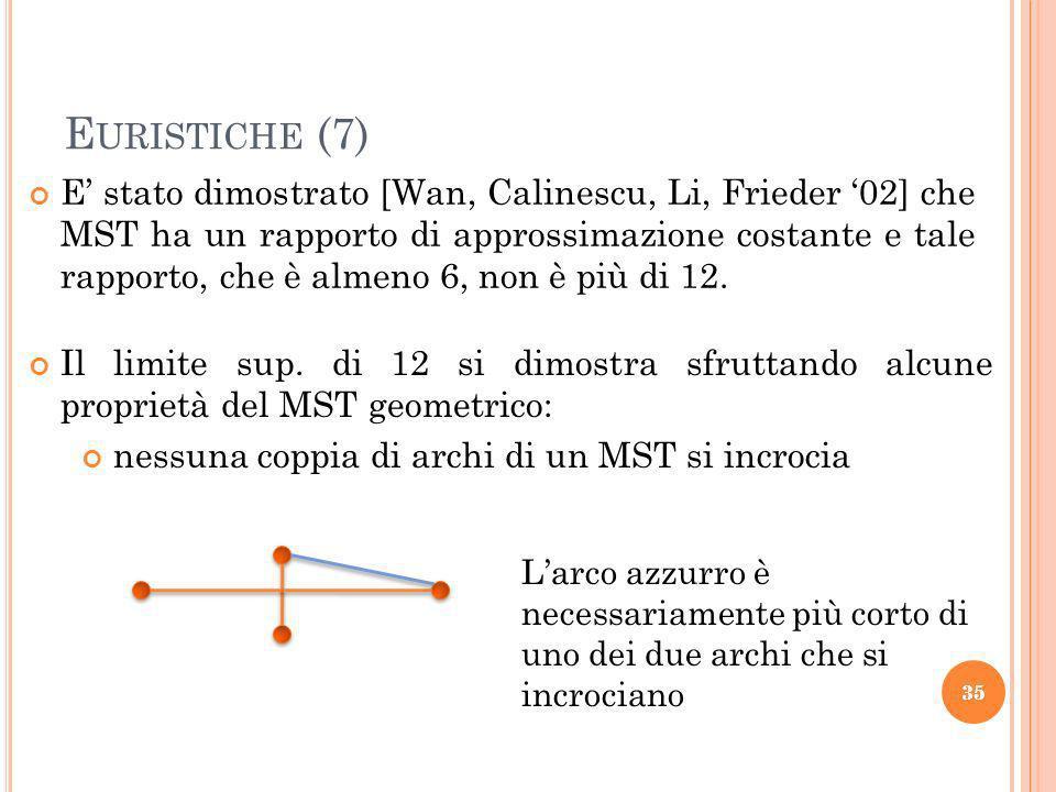 35 E URISTICHE (7) E stato dimostrato [Wan, Calinescu, Li, Frieder 02] che MST ha un rapporto di approssimazione costante e tale rapporto, che è almeno 6, non è più di 12.