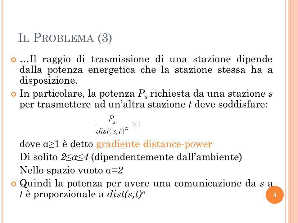 I L P ROBLEMA (4) Le stazioni di una rete ad-hoc collaborano per garantire delle specifiche proprietà di connettività adattando il loro raggio trasmissivo.