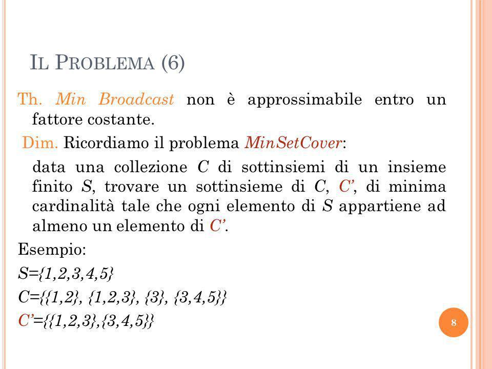 I L P ROBLEMA (6) Th. Min Broadcast non è approssimabile entro un fattore costante. Dim. Ricordiamo il problema MinSetCover : data una collezione C di