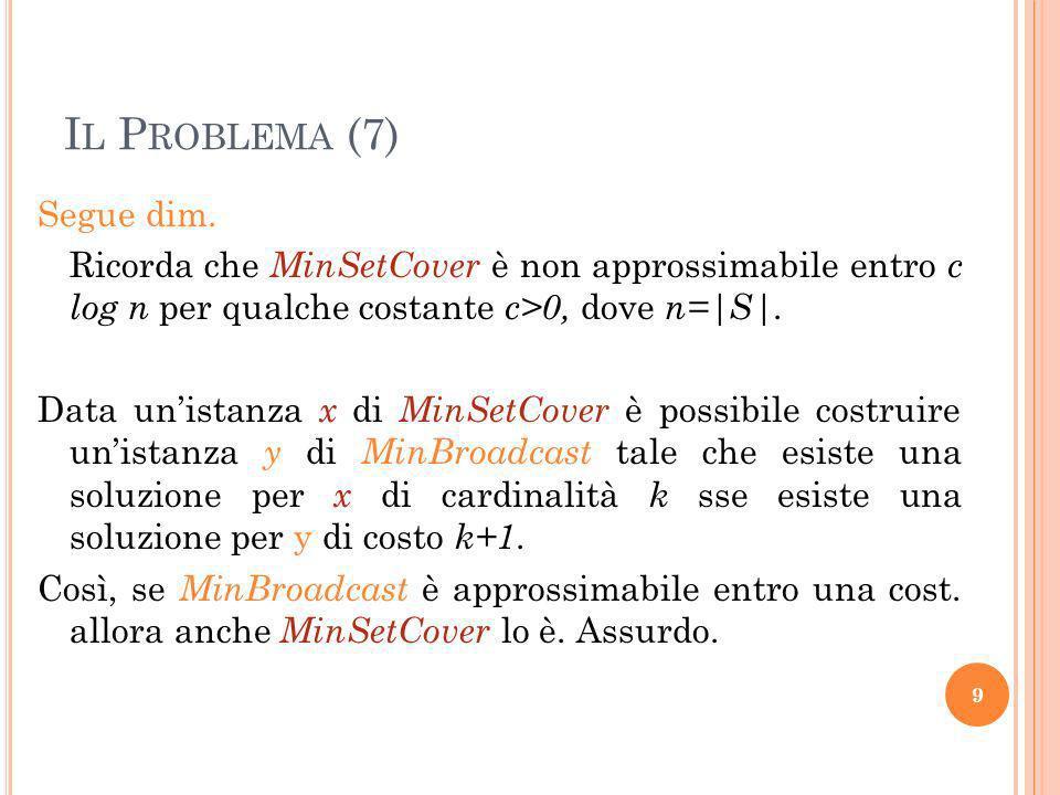 I L P ROBLEMA (7) Segue dim. Ricorda che MinSetCover è non approssimabile entro c log n per qualche costante c>0, dove n=|S|. Data unistanza x di MinS