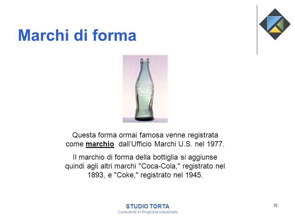 Marchi di forma Questa forma ormai famosa venne registrata come marchio dallUfficio Marchi U.S. nel 1977. Il marchio di forma della bottiglia si aggiu