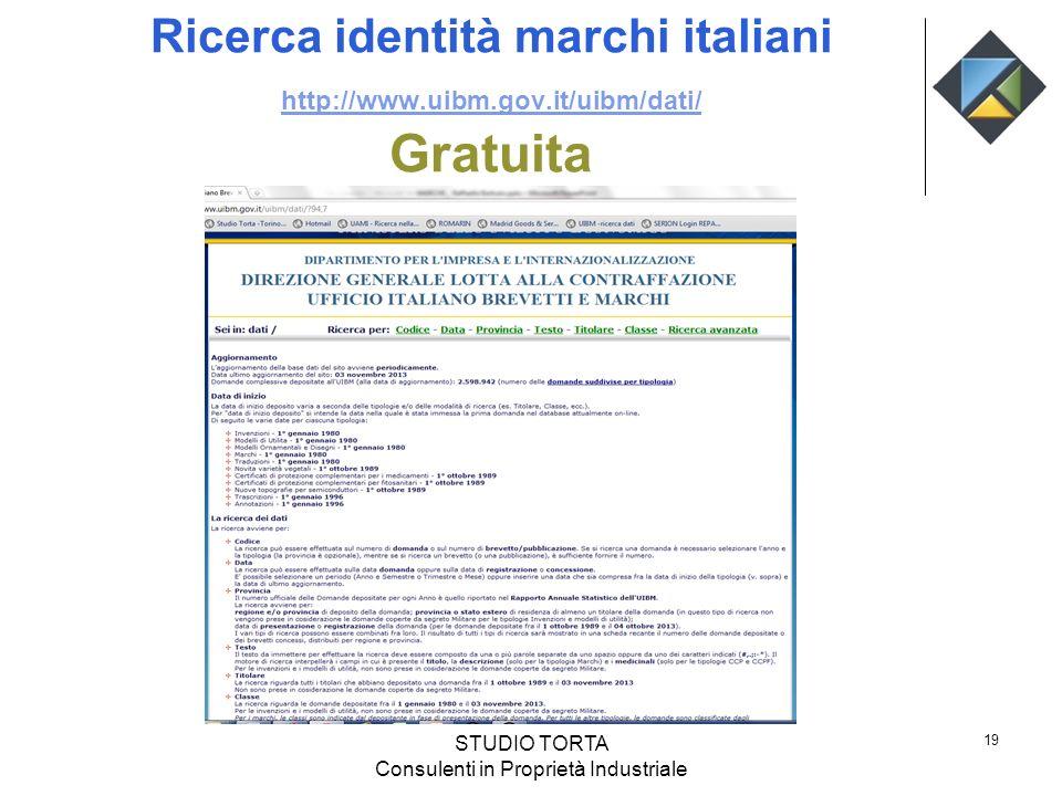 Ricerca identità marchi italiani http://www.uibm.gov.it/uibm/dati/ Gratuita http://www.uibm.gov.it/uibm/dati/ STUDIO TORTA Consulenti in Proprietà Ind
