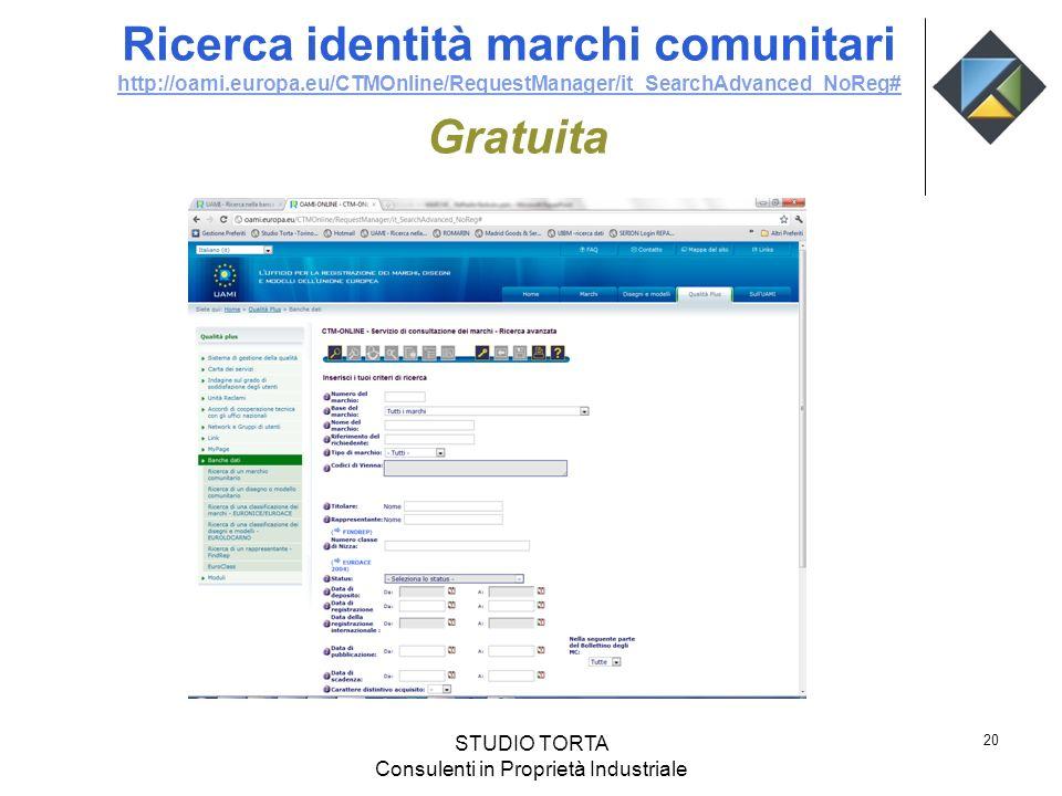 Ricerca identità marchi comunitari http://oami.europa.eu/CTMOnline/RequestManager/it_SearchAdvanced_NoReg# Gratuita http://oami.europa.eu/CTMOnline/Re