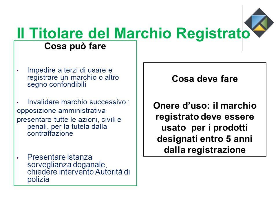 Il Titolare del Marchio Registrato Cosa può fare Impedire a terzi di usare e registrare un marchio o altro segno confondibili Invalidare marchio succe