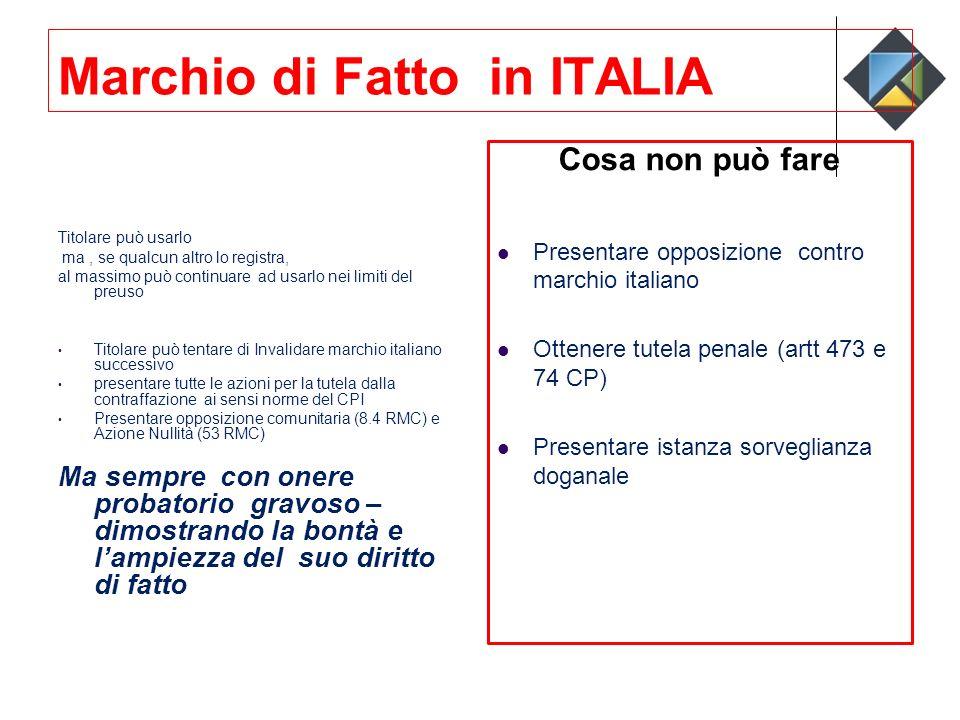Marchio di Fatto in ITALIA Titolare può usarlo ma, se qualcun altro lo registra, al massimo può continuare ad usarlo nei limiti del preuso Titolare pu