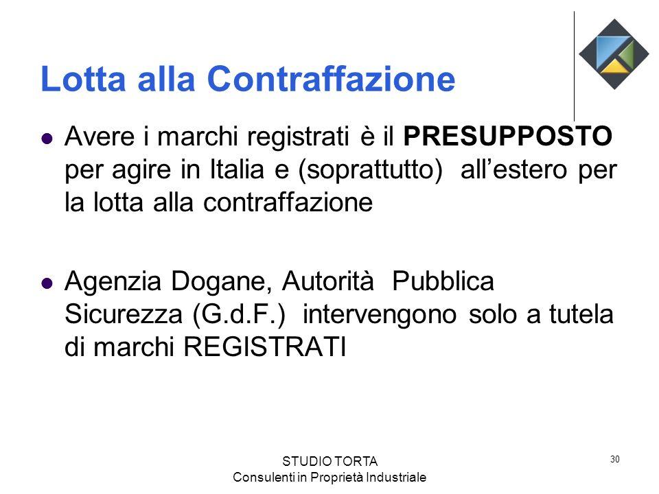 Lotta alla Contraffazione Avere i marchi registrati è il PRESUPPOSTO per agire in Italia e (soprattutto) allestero per la lotta alla contraffazione Ag