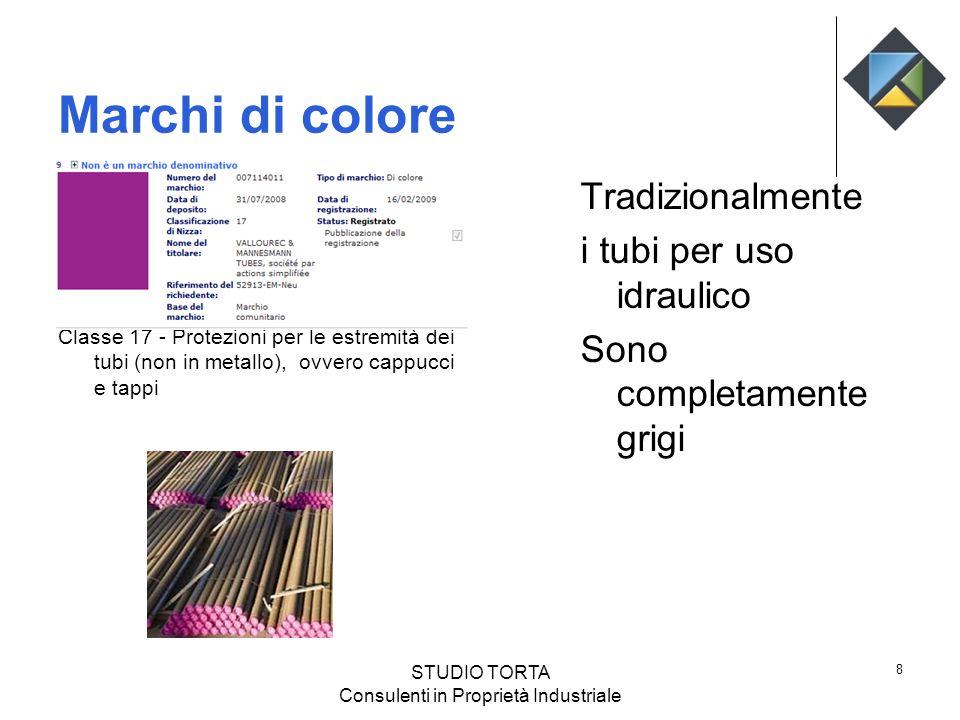 Marchi di colore Classe 17 - Protezioni per le estremità dei tubi (non in metallo), ovvero cappucci e tappi Tradizionalmente i tubi per uso idraulico