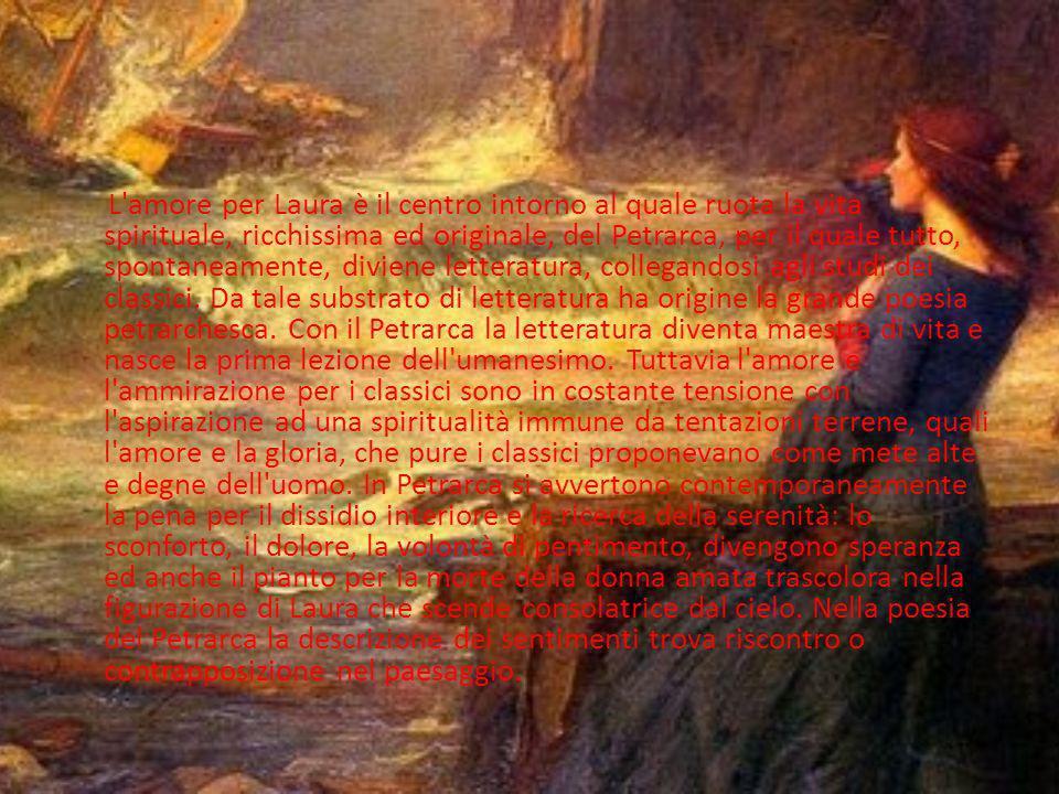 Opere in volgare Il Canzoniere è la storia poetica della vita interiore del Petrarca. La raccolta comprende 366 componimenti: 317 sonetti, 29 canzoni,