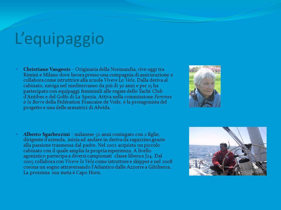 Lequipaggio Christiane Vaugeois - Originaria della Normandia, vive oggi tra Rimini e Milano dove lavora presso una compagnia di assicurazione e collabora come istruttrice alla scuola Vivere La Vela.