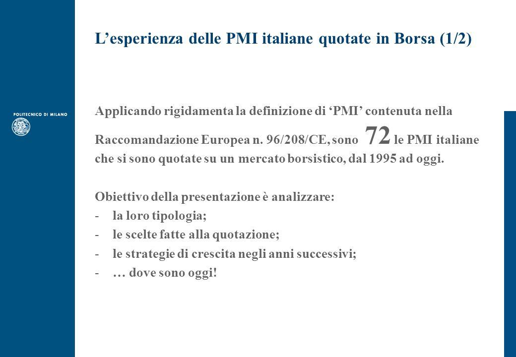 Lesperienza delle PMI italiane quotate in Borsa (1/2) Applicando rigidamenta la definizione di PMI contenuta nella Raccomandazione Europea n.