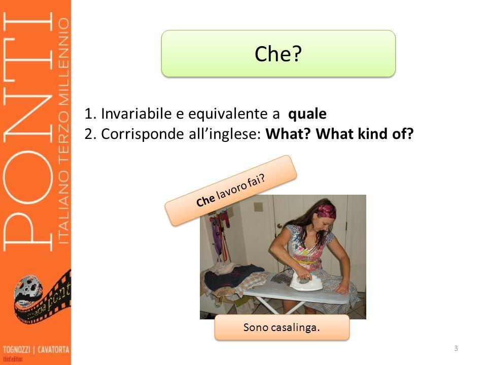 3 Che? 1. Invariabile e equivalente a quale 2. Corrisponde allinglese: What? What kind of? Che lavoro fai? Sono casalinga.
