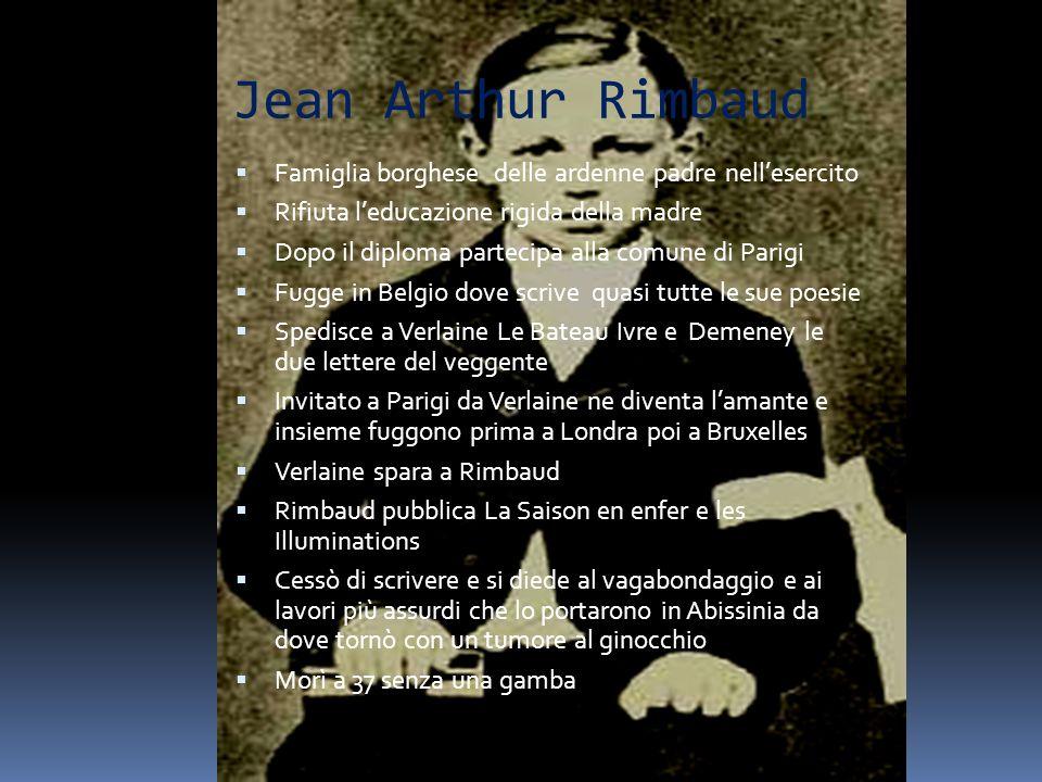 Jean Arthur Rimbaud Famiglia borghese delle ardenne padre nellesercito Rifiuta leducazione rigida della madre Dopo il diploma partecipa alla comune di