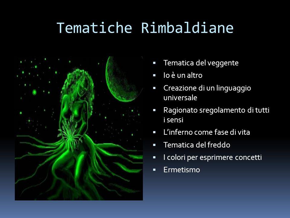 Tematiche Rimbaldiane Tematica del veggente Io è un altro Creazione di un linguaggio universale Ragionato sregolamento di tutti i sensi Linferno come