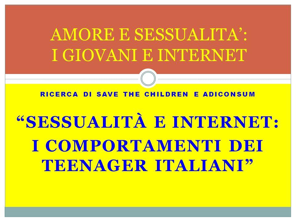 RICERCA DI SAVE THE CHILDREN E ADICONSUM SESSUALITÀ E INTERNET: I COMPORTAMENTI DEI TEENAGER ITALIANI AMORE E SESSUALITA: I GIOVANI E INTERNET