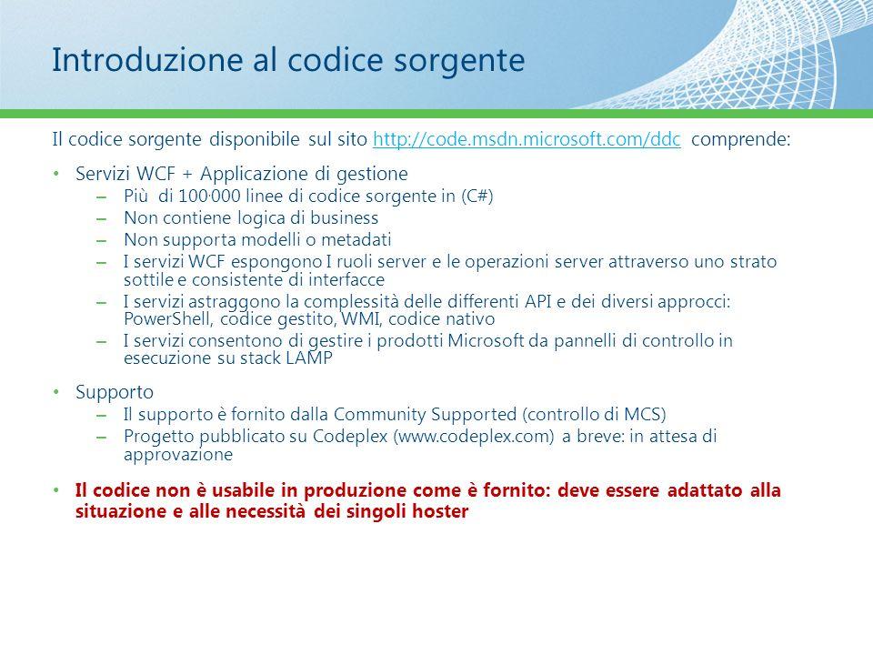 Introduzione al codice sorgente Il codice sorgente disponibile sul sito http://code.msdn.microsoft.com/ddc comprende:http://code.msdn.microsoft.com/dd