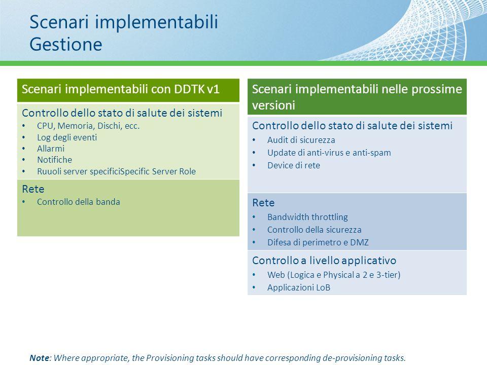 Scenari implementabili Gestione Scenari implementabili con DDTK v1 Controllo dello stato di salute dei sistemi CPU, Memoria, Dischi, ecc. Log degli ev