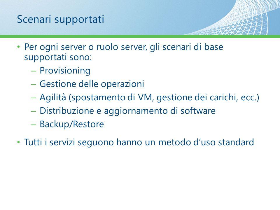 Scenari supportati Per ogni server o ruolo server, gli scenari di base supportati sono: – Provisioning – Gestione delle operazioni – Agilità (spostame