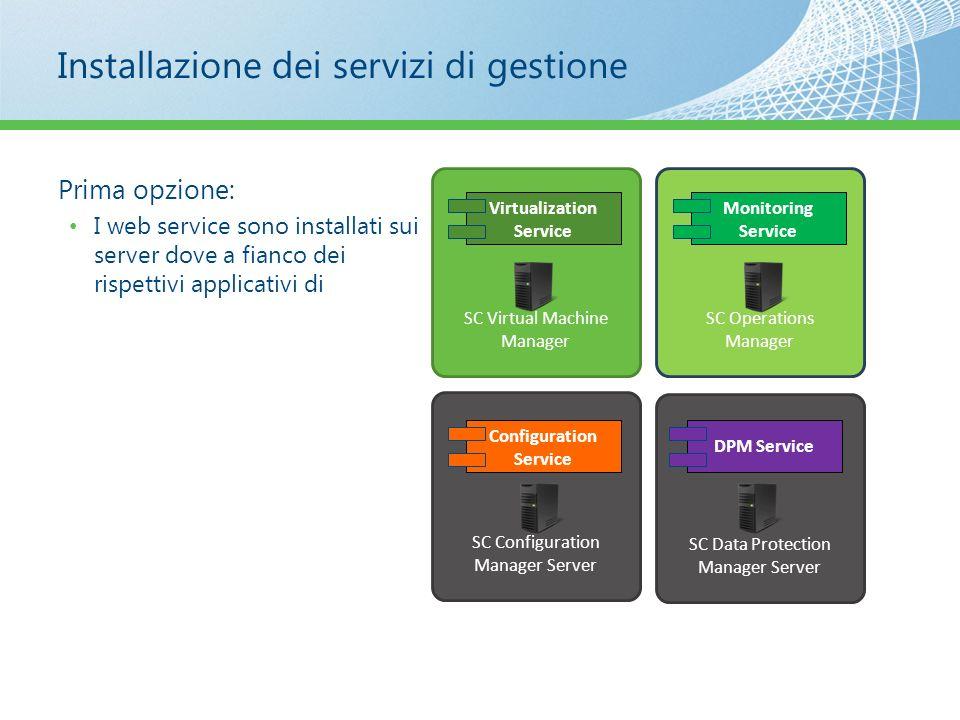 Installazione dei servizi di gestione Prima opzione: I web service sono installati sui server dove a fianco dei rispettivi applicativi di SC Configura