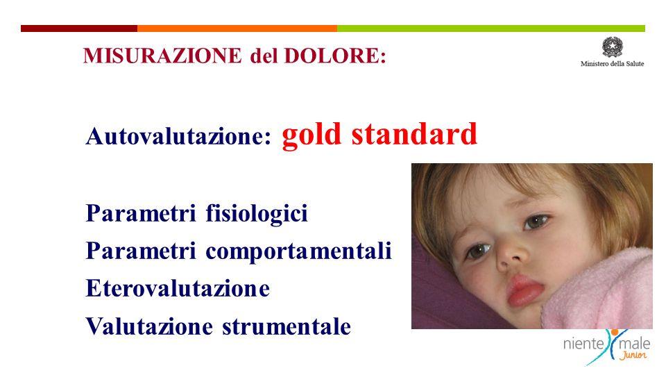 Autovalutazione: gold standard Parametri fisiologici Parametri comportamentali Eterovalutazione Valutazione strumentale MISURAZIONE del DOLORE: