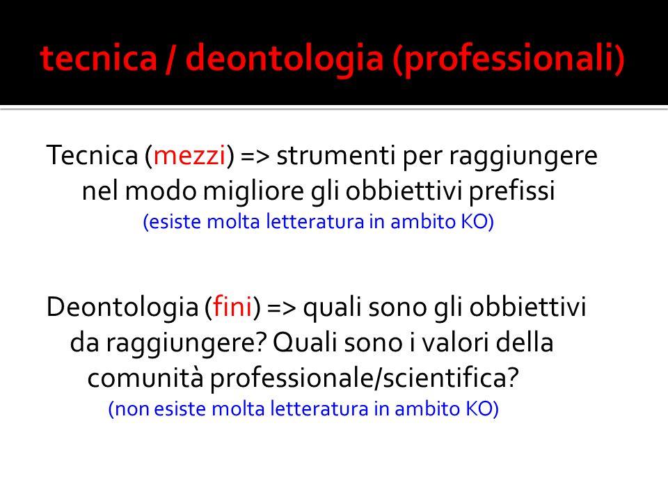Tecnica (mezzi) => strumenti per raggiungere nel modo migliore gli obbiettivi prefissi (esiste molta letteratura in ambito KO) Deontologia (fini) => quali sono gli obbiettivi da raggiungere.
