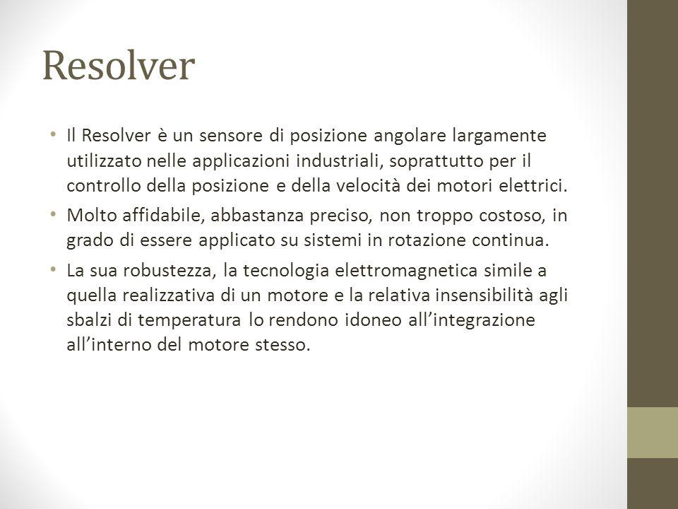 Resolver Il Resolver è un sensore di posizione angolare largamente utilizzato nelle applicazioni industriali, soprattutto per il controllo della posizione e della velocità dei motori elettrici.
