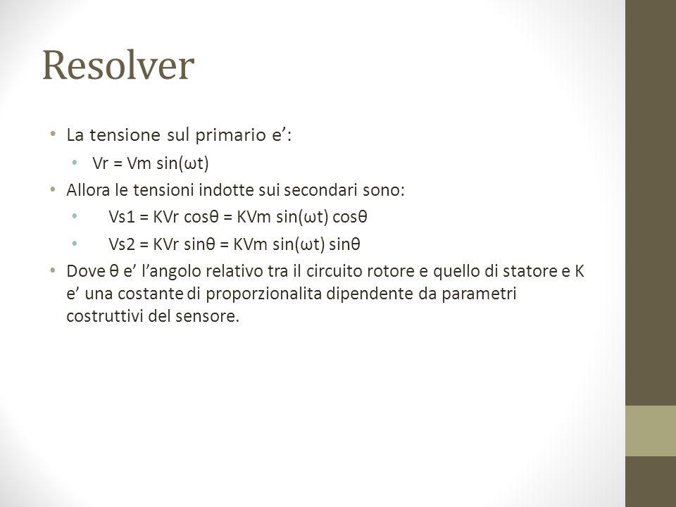 La tensione sul primario e: Vr = Vm sin(ωt) Allora le tensioni indotte sui secondari sono: Vs1 = KVr cosθ = KVm sin(ωt) cosθ Vs2 = KVr sinθ = KVm sin(ωt) sinθ Dove θ e langolo relativo tra il circuito rotore e quello di statore e K e una costante di proporzionalita dipendente da parametri costruttivi del sensore.