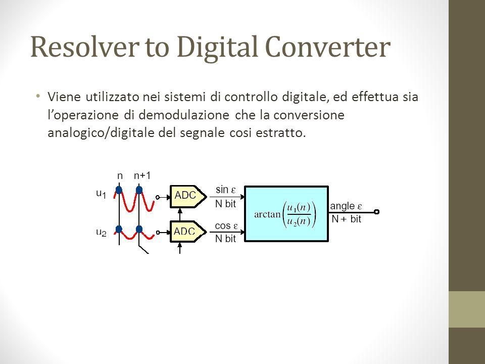Resolver to Digital Converter Viene utilizzato nei sistemi di controllo digitale, ed effettua sia loperazione di demodulazione che la conversione analogico/digitale del segnale cosi estratto.