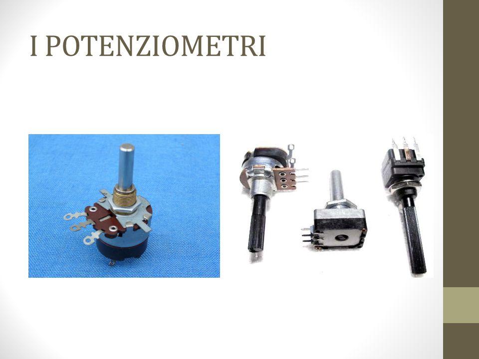 I potenziometri Sono costituiti da un filo o da uno strato metallico, avvolto su un supporto isolante, e da un contatto mobile in grado di spostarsi lungo il conduttore.