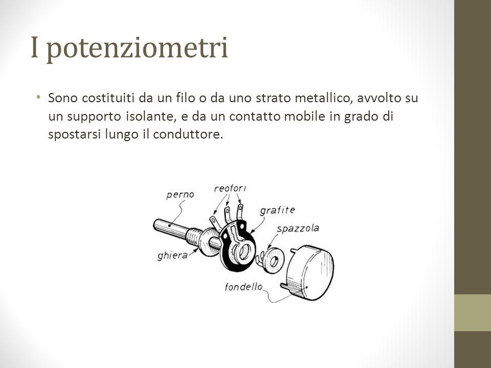 I potenziometri Sono costituiti da un filo o da uno strato metallico, avvolto su un supporto isolante, e da un contatto mobile in grado di spostarsi l