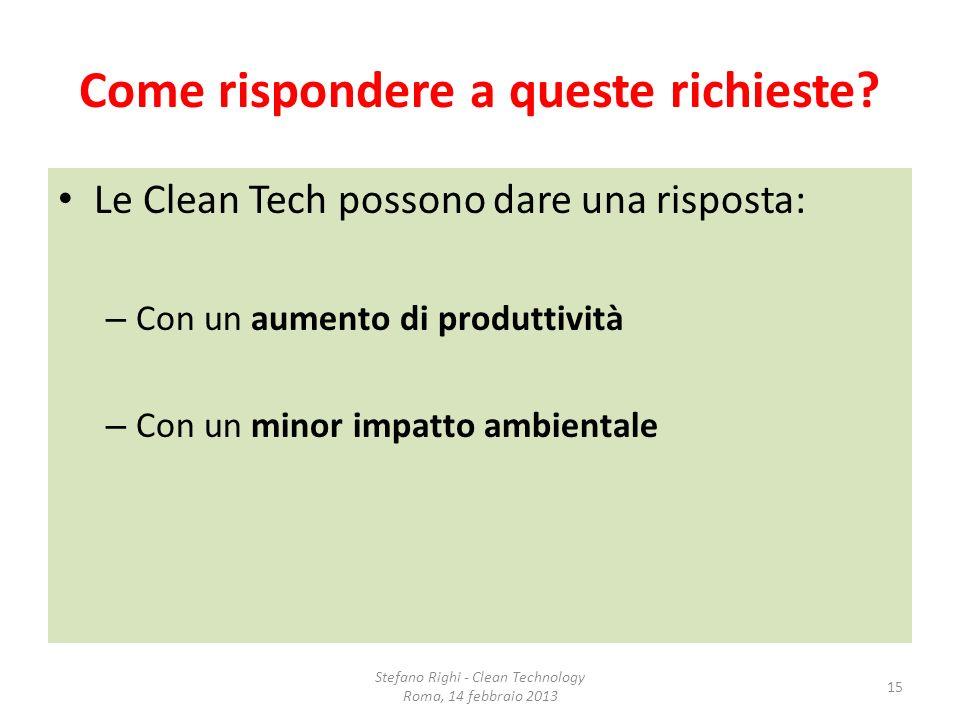 Come rispondere a queste richieste? Le Clean Tech possono dare una risposta: – Con un aumento di produttività – Con un minor impatto ambientale Stefan