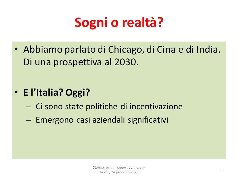 Sogni o realtà? Abbiamo parlato di Chicago, di Cina e di India. Di una prospettiva al 2030. E lItalia? Oggi? – Ci sono state politiche di incentivazio