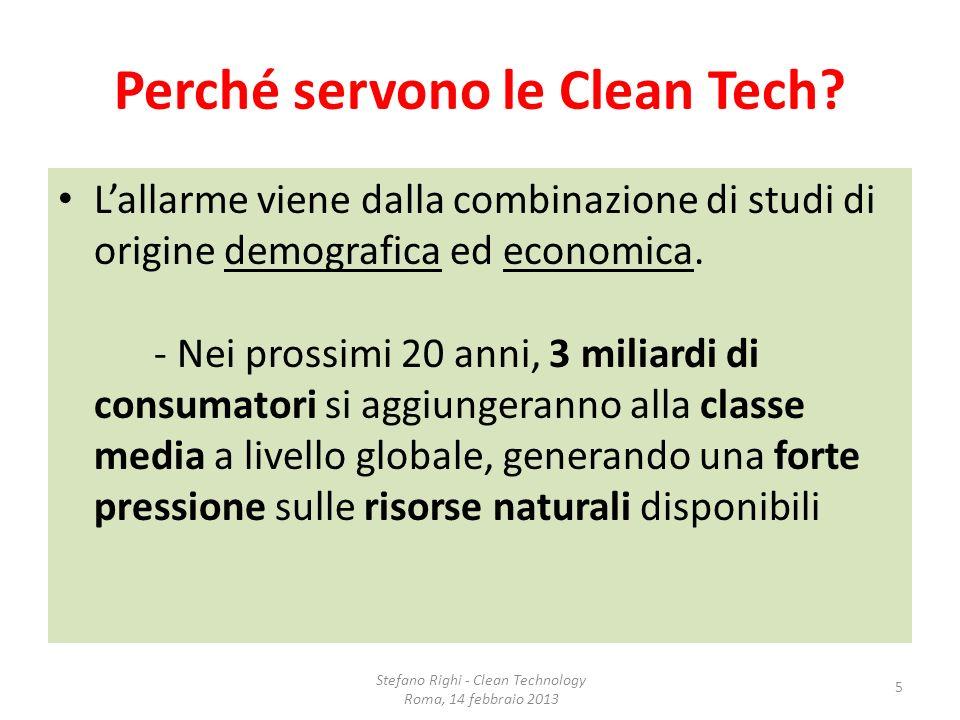 Perché servono le Clean Tech? Lallarme viene dalla combinazione di studi di origine demografica ed economica. - Nei prossimi 20 anni, 3 miliardi di co