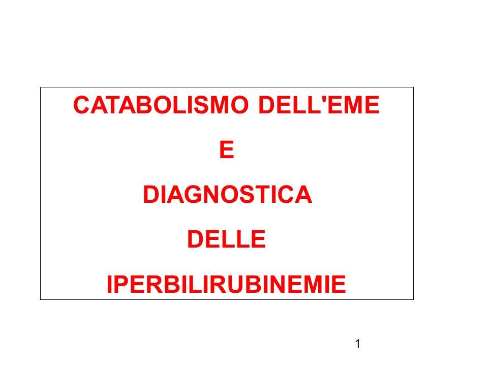 1 CATABOLISMO DELL'EME E DIAGNOSTICA DELLE IPERBILIRUBINEMIE