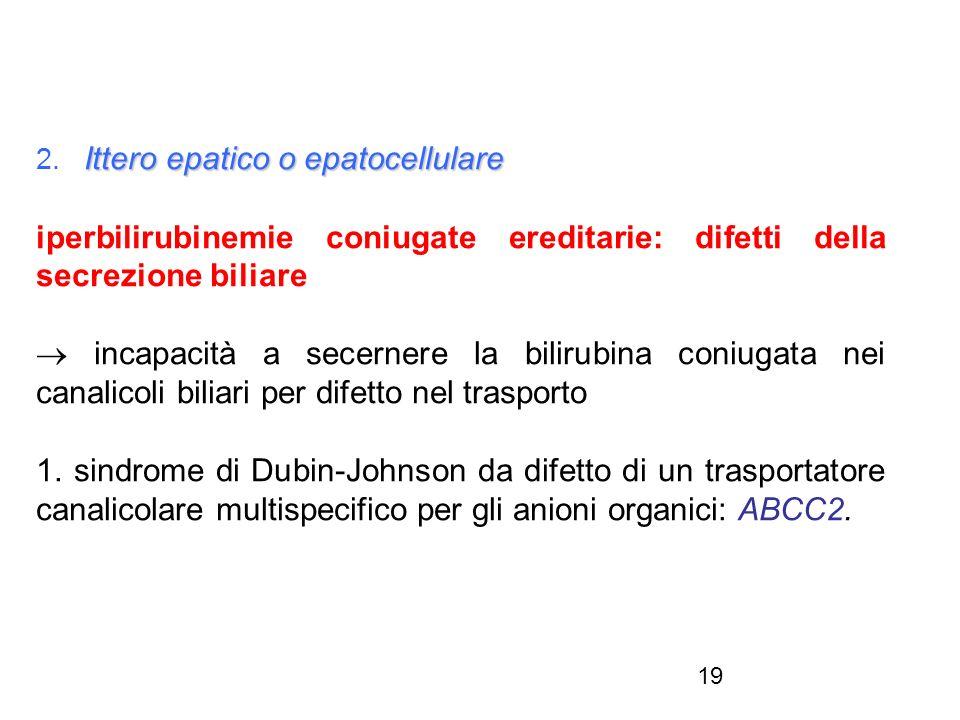 19 Ittero epatico o epatocellulare 2. Ittero epatico o epatocellulare iperbilirubinemie coniugate ereditarie: difetti della secrezione biliare incapac