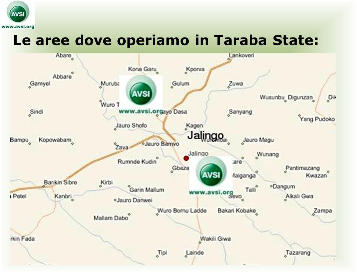 Le aree dove operiamo in Taraba State: 7