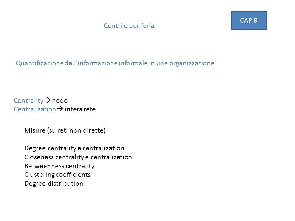 Centri e periferia CAP 6 Misure (su reti non dirette) Degree centrality e centralization Closeness centrality e centralization Betweenness centrality