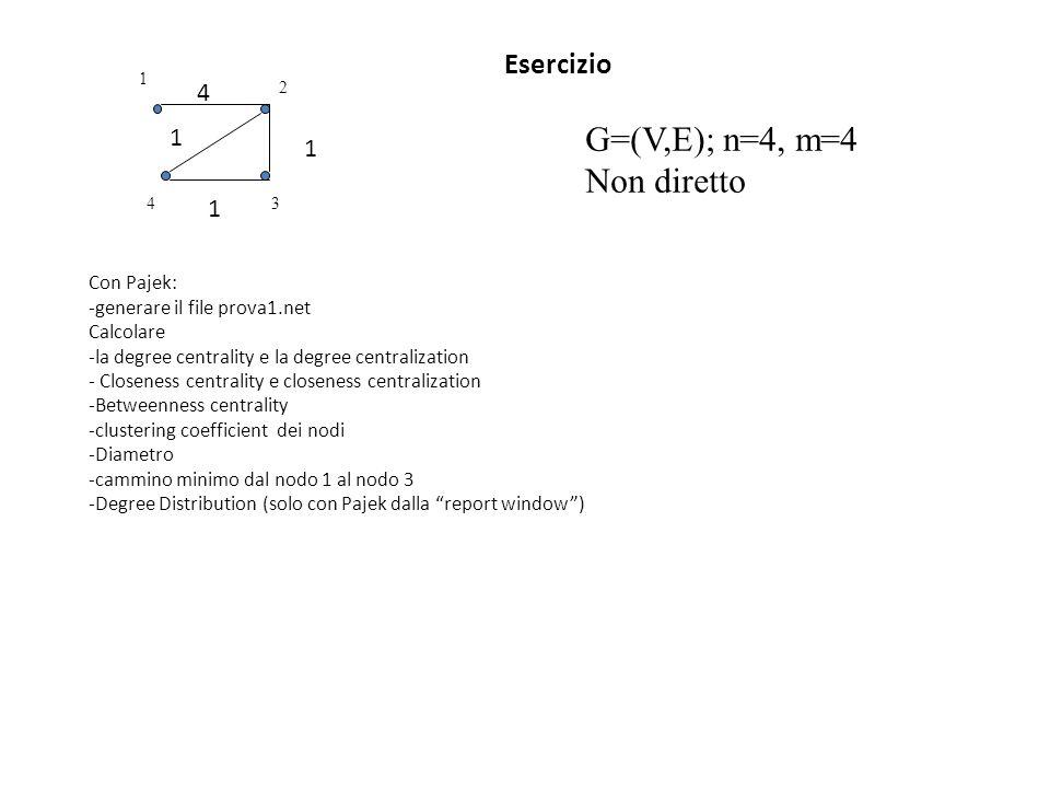 Esercizio Con Pajek: -generare il file prova1.net Calcolare -la degree centrality e la degree centralization - Closeness centrality e closeness centra