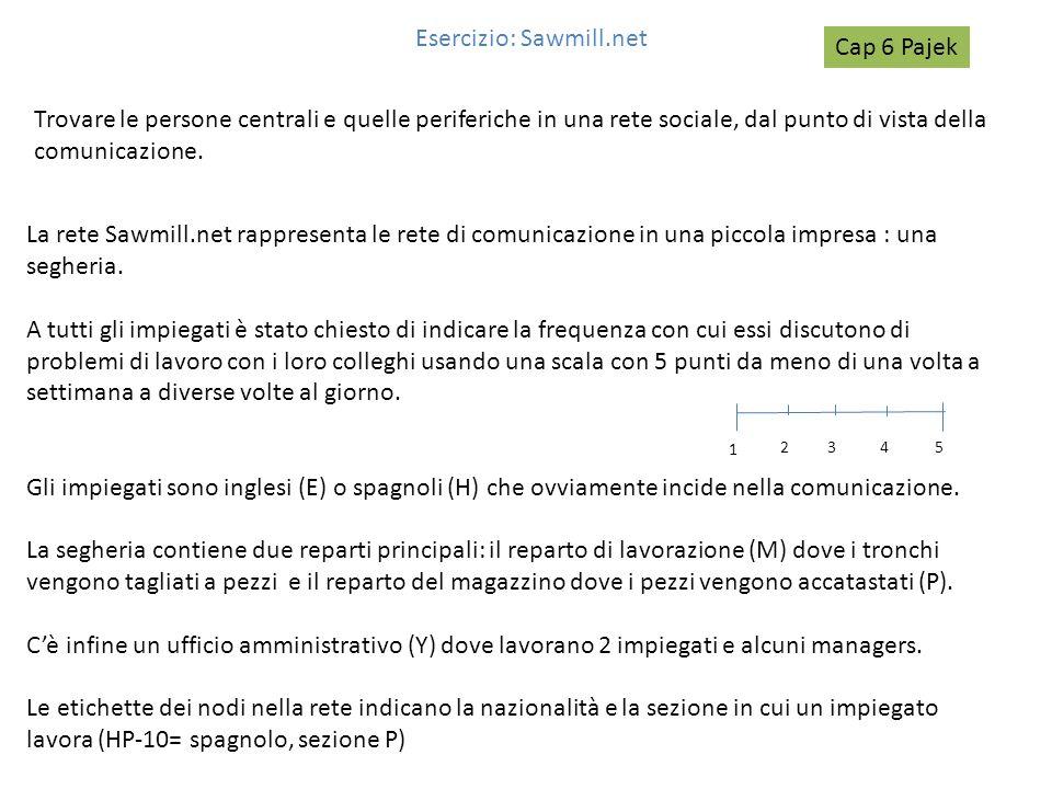 Esercizio: Sawmill.net Trovare le persone centrali e quelle periferiche in una rete sociale, dal punto di vista della comunicazione. La rete Sawmill.n