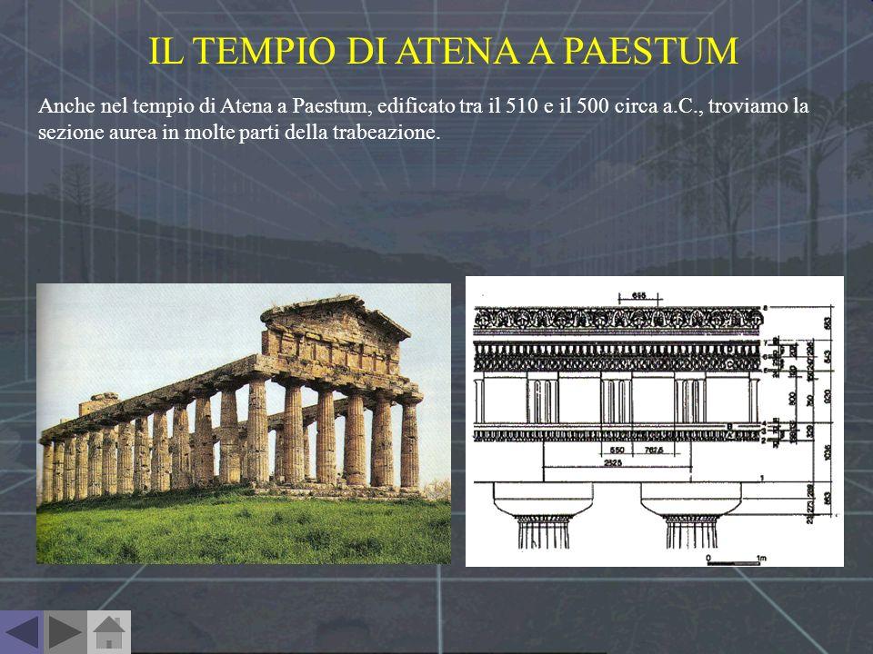 IL TEMPIO DI ATENA A PAESTUM Anche nel tempio di Atena a Paestum, edificato tra il 510 e il 500 circa a.C., troviamo la sezione aurea in molte parti d