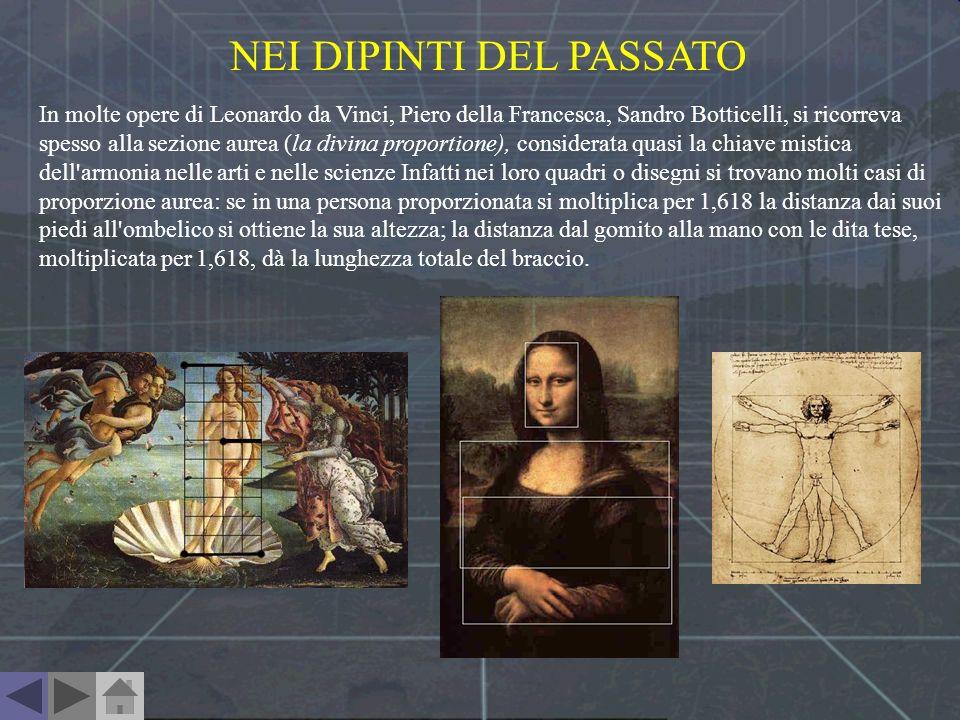 In molte opere di Leonardo da Vinci, Piero della Francesca, Sandro Botticelli, si ricorreva spesso alla sezione aurea (la divina proportione), conside