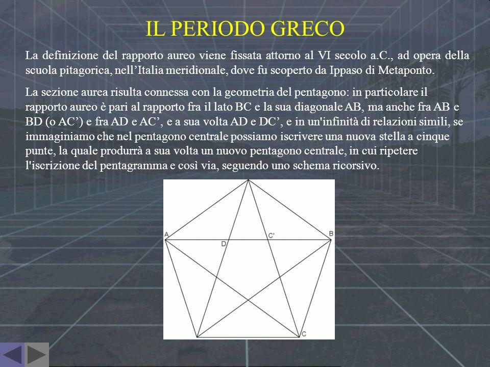 IL TRIANGOLO AUREO La divisione di un segmento AB in media e ultima ragione può essere effettuata costruendo un pentagono regolare, del quale AB rappresenta una diagonale e disegnandovi all interno un triangolo aureo , ossia un triangolo isoscele la cui base corrisponde al lato del pentagono (ed è sezione aurea della diagonale) e i lati corrispondono alle diagonali congiungenti quest ultimo al vertice opposto.