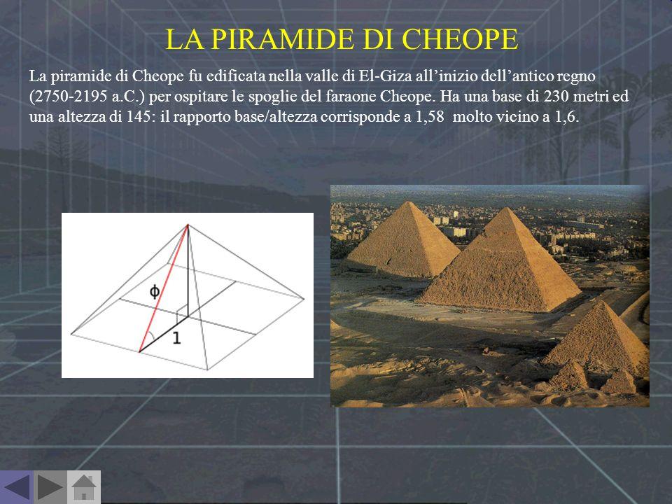 LA PIRAMIDE DI CHEOPE La piramide di Cheope fu edificata nella valle di El-Giza allinizio dellantico regno (2750-2195 a.C.) per ospitare le spoglie de