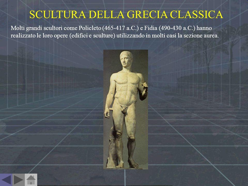 SCULTURA DELLA GRECIA CLASSICA Molti grandi scultori come Policleto (465-417 a.C.) e Fidia (490-430 a.C.) hanno realizzato le loro opere (edifici e sc
