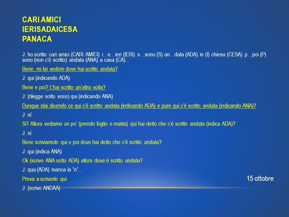 CARI AMICI IERISADAICESA PANACA J: ho scritto cari amici (CARI AMICI) i…e…ieri (IERI) s…sono (S) an…data (ADA) in (I) chiesa (CESA) p…poi (P) sono (no