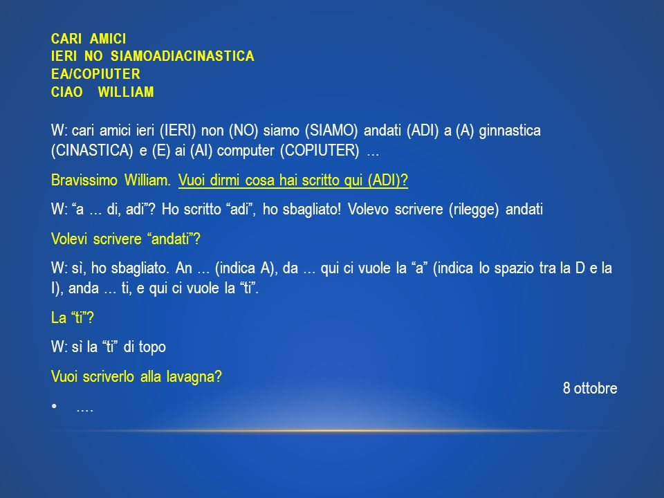 CARI AMICI IERI NO SIAMOADIACINASTICA EA/COPIUTER CIAO WILLIAM W: cari amici ieri (IERI) non (NO) siamo (SIAMO) andati (ADI) a (A) ginnastica (CINASTI